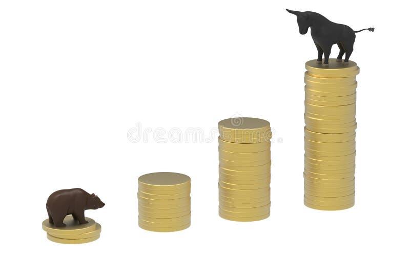 Taureau et concerner la pile de pièce d'or images stock