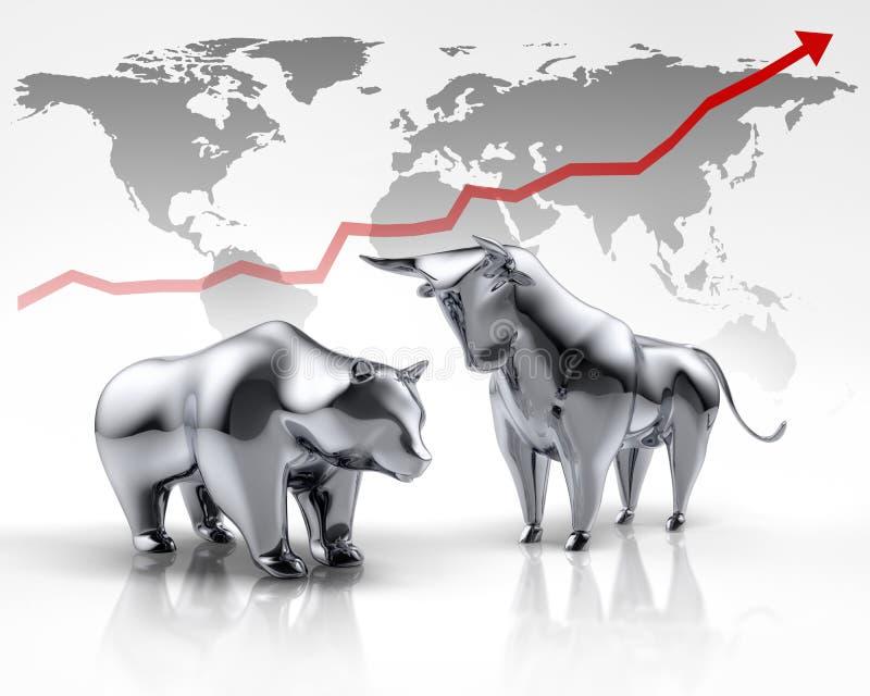 Taureau et ours argentés - marché boursier de concept illustration stock