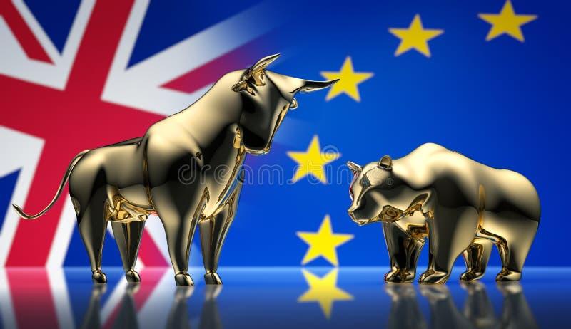 Taureau et ours d'or avec des drapeaux de l'Europe et de l'Angleterre - brexit de concept illustration de vecteur