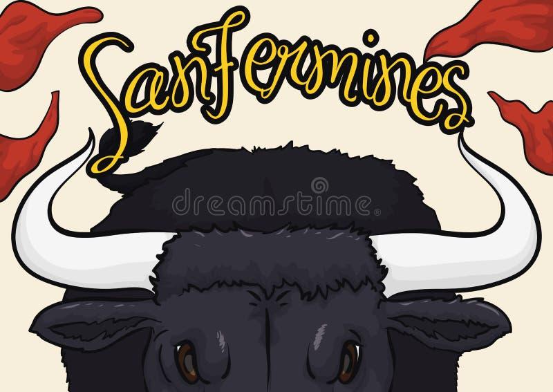 Taureau fâché enfonçant à vous avec des mouchoirs dans l'Espagnol Sanfermines illustration stock