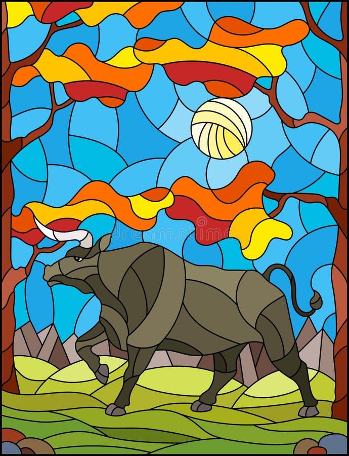 Taureau sauvage en verre souillé d'illustration sur le fond des arbres, des montagnes et du ciel d'automne illustration libre de droits
