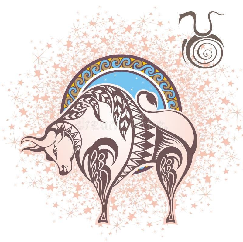 taureau zodiaque des symboles douze de signe de conception de dessin-modèles divers illustration de vecteur