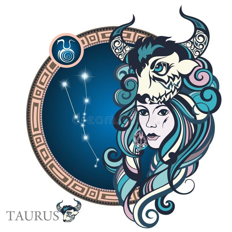 taureau zodiaque des symboles douze de signe de conception de dessin-modèles divers illustration stock