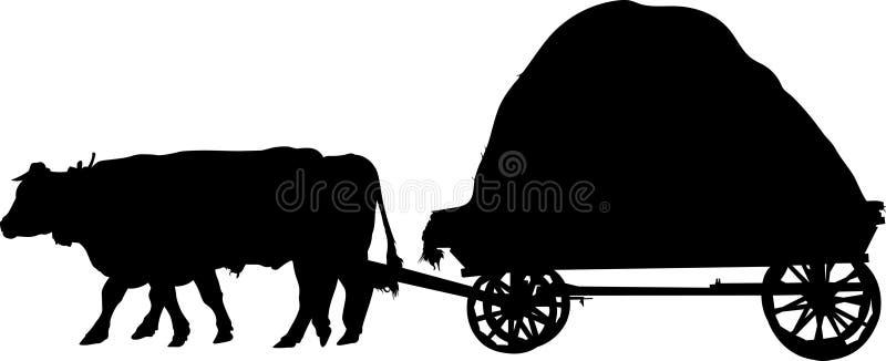 Taureaux agricoles d'animaux de ferme un chariot illustration stock