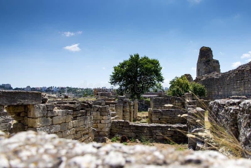 Tauric Chersonese in Sebastopol, oude ruïnes, de Krim stock afbeeldingen