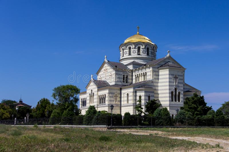 Tauric Chersonese and St. Vladimir`s Cathedral in Sevastopol, Crimea royalty free stock photography