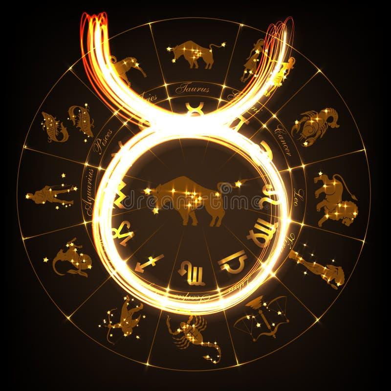 Tauro de la muestra del zodiaco ilustración del vector