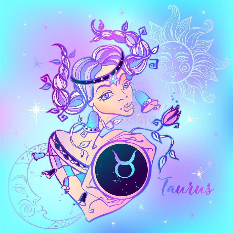 Tauro de la muestra del zodiaco una muchacha hermosa horoscope astrología Vector ilustración del vector