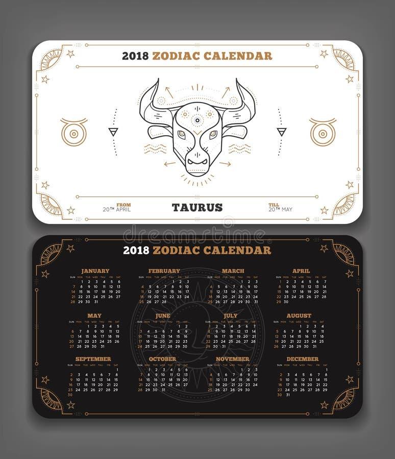 Tauro disposición horizontal de bolsillo del calendario del zodiaco de 2018 años stock de ilustración