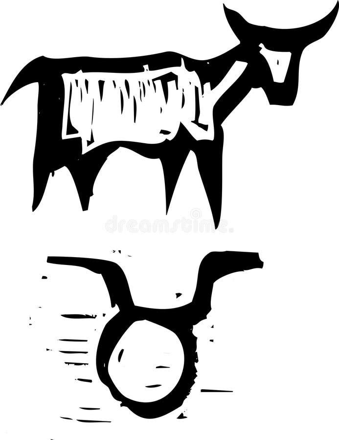 Tauro primitivo de la muestra del zodiaco libre illustration