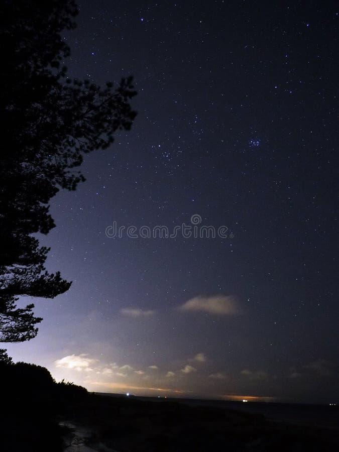 Taurus αστεριών νυχτερινού ουρανού παρατήρηση Pleiades αστερισμού στοκ φωτογραφία με δικαίωμα ελεύθερης χρήσης