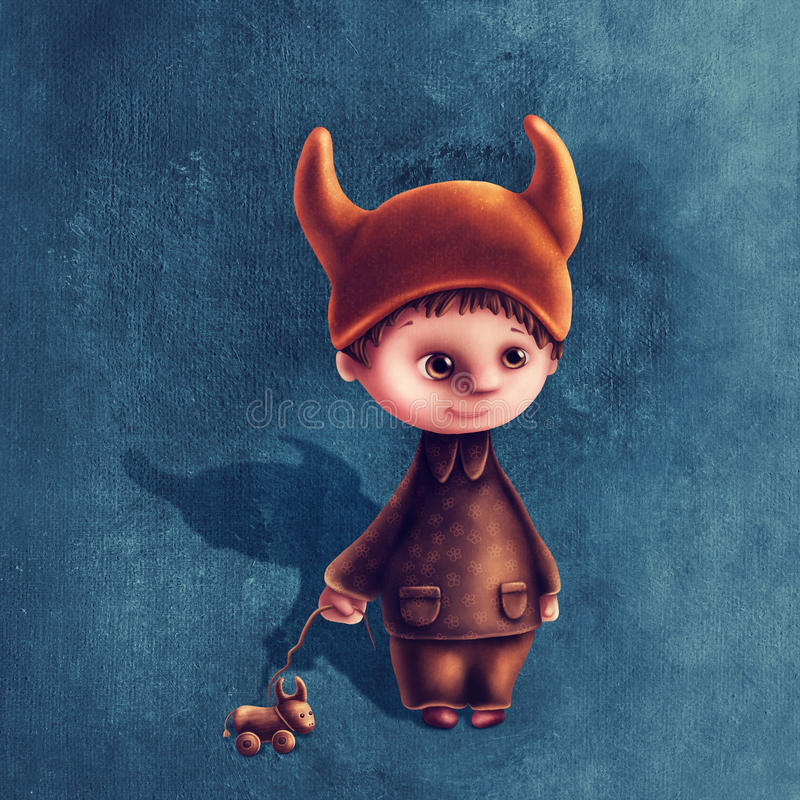 Taurus astrological sign boy. Illustration with taurus astrological sign boy royalty free illustration