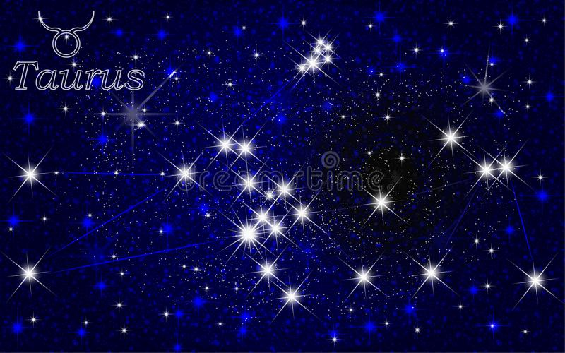 Taurus constellation abstract starry sky royalty free illustration