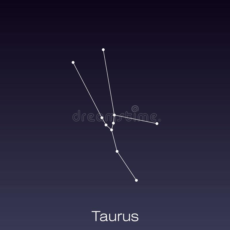 Constellation as it can be seen by the naked eye. Taurus constellation as it can be seen by the naked eye vector illustration