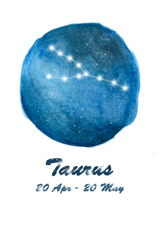 Taurus constellation icon of zodiac sign Taurus in cosmic stars space. Blue starry night sky inside circle background. vector illustration