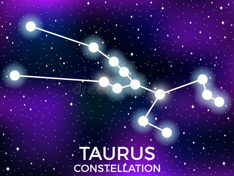 Taurus constellation. Starry night sky. Cluster of stars and galaxies. Deep space. Vector. Illustration stock illustration