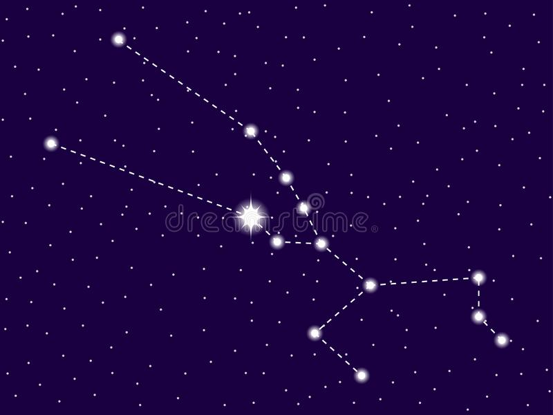 Taurus constellation. Starry night sky. Zodiac sign. Cluster of stars and galaxies. Deep space. Vector. Illustration royalty free illustration