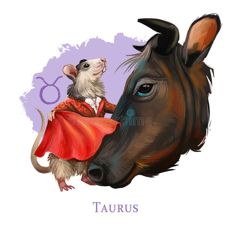 Taurus creative digital illustration of astrological sign. Rat or mouse symboll of 2020 year signs in zodiac. Horoscope earth. Element. Logo sign with bull vector illustration