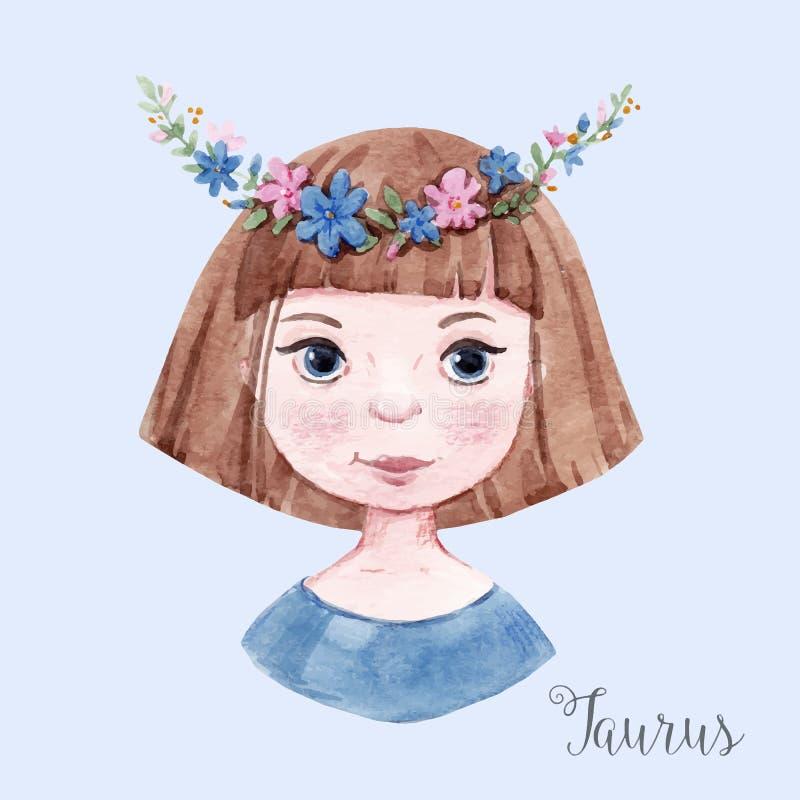 Taurus del segno dell'oroscopo dell'acquerello illustrazione di stock