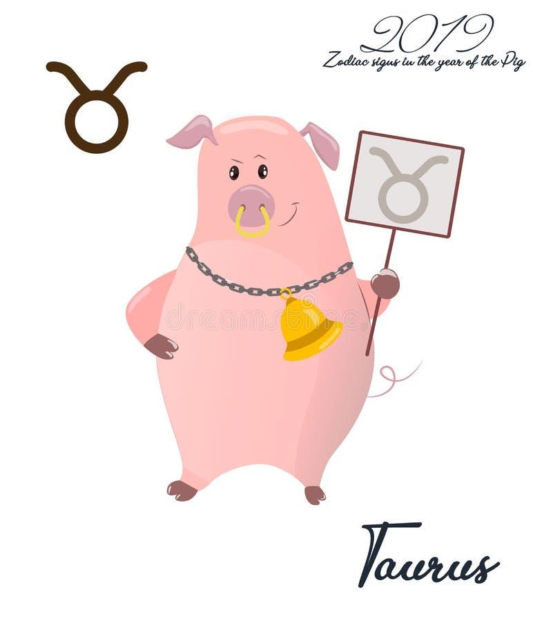 Taurus del segno dello zodiaco 2019 anni del MAIALE Porcellino con i corni Oroscopo divertente Animale sveglio Illustrazione di v royalty illustrazione gratis