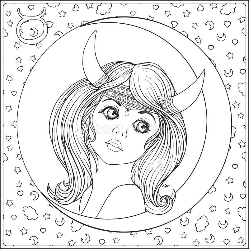 taurus En ung härlig flicka i form av en vektor illustrationer