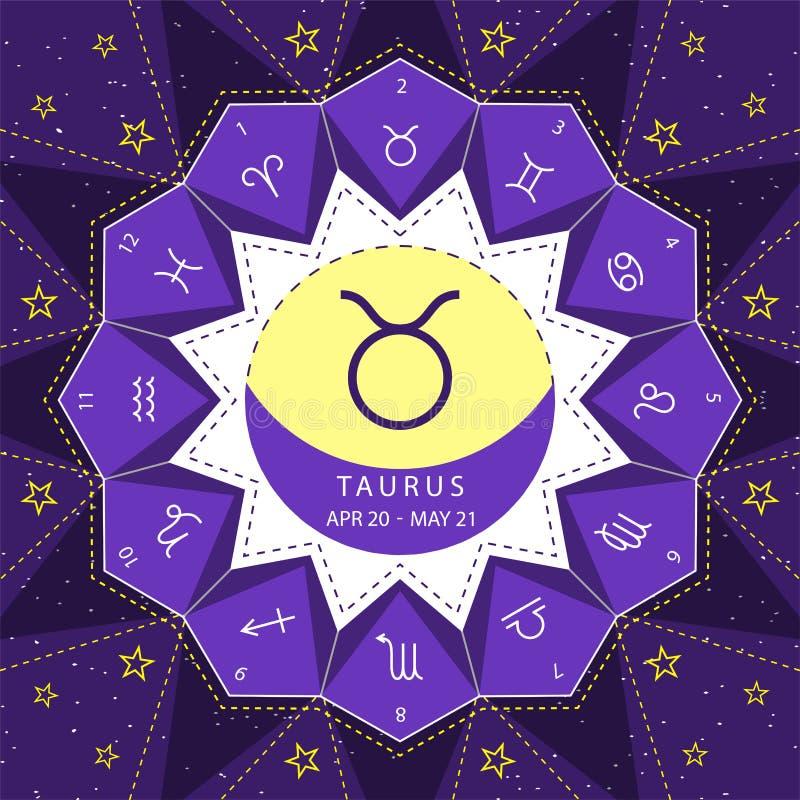 taurus I segni dello zodiaco descrivono il vettore di stile fissato sul fondo del cielo della stella royalty illustrazione gratis