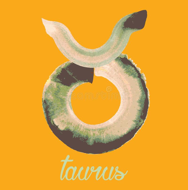 Taurus icon of zodiac, Vector icon. astrological signs, colorful image of horoscope. Watercolour style. Taurus icon of zodiac, Vector icon. astrological signs stock illustration
