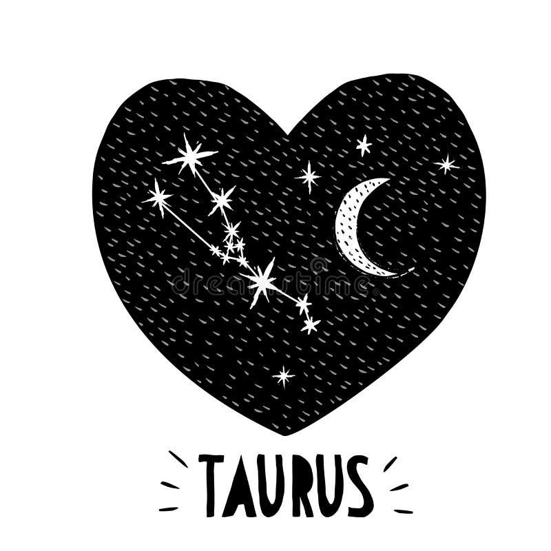 Taurus symbol Ręka Rysująca zodiaka wektoru ilustracja Infantylna grafika czarne serce ilustracji