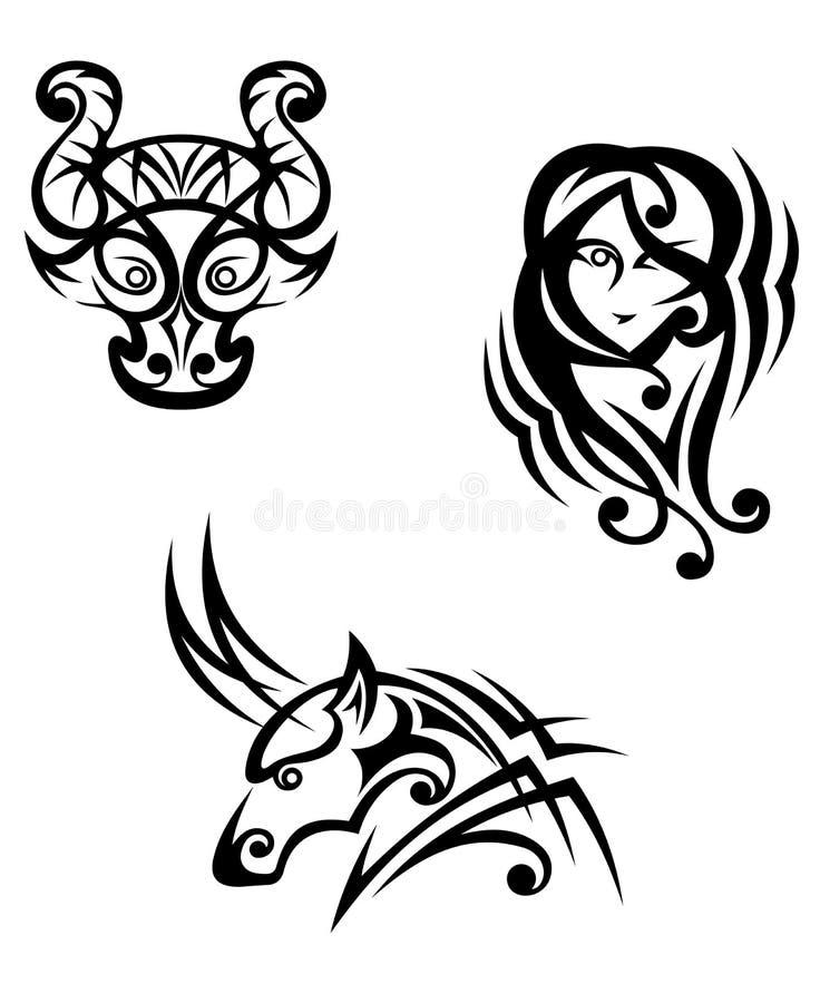 Taurus, virgo e capricorn illustrazione vettoriale