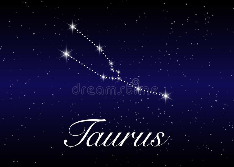 Taurus zodiac constellations sign on beautiful starry sky with galaxy and space behind. Taurus horoscope symbol constellation stock illustration