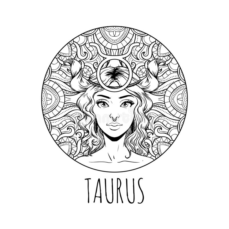 Taurus Zodiac Sign Artwork, Adult Coloring Book Page ...