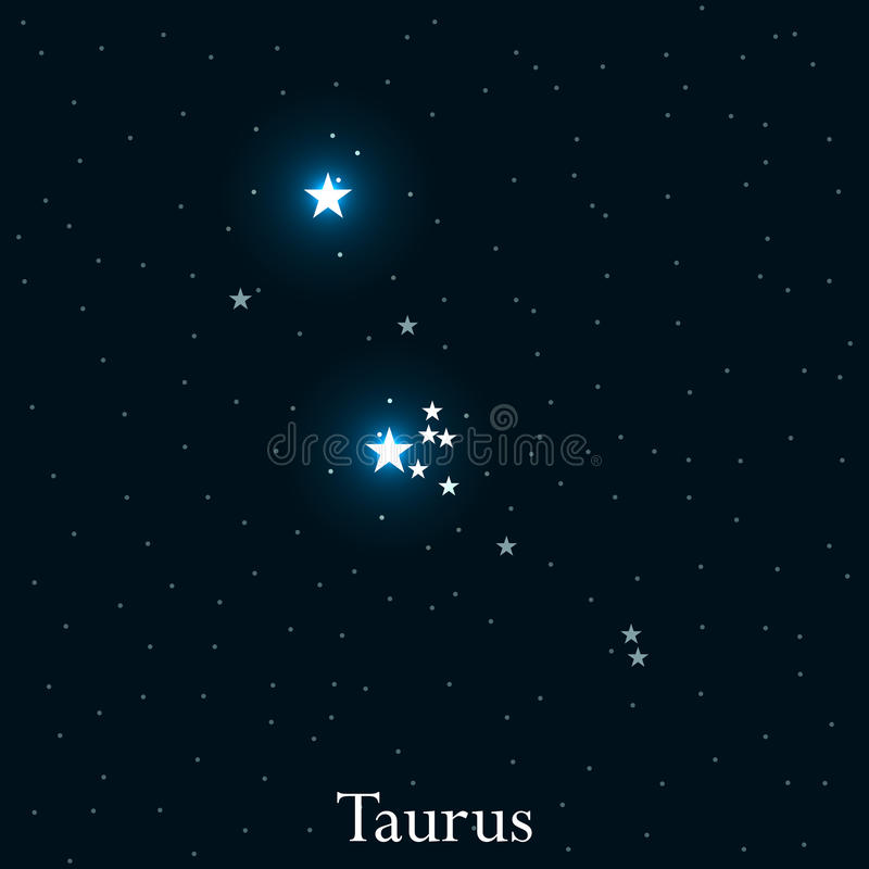 Taurus zodiac sign. Bright stars in the cosmos. Constellation Taurus. Vector royalty free illustration