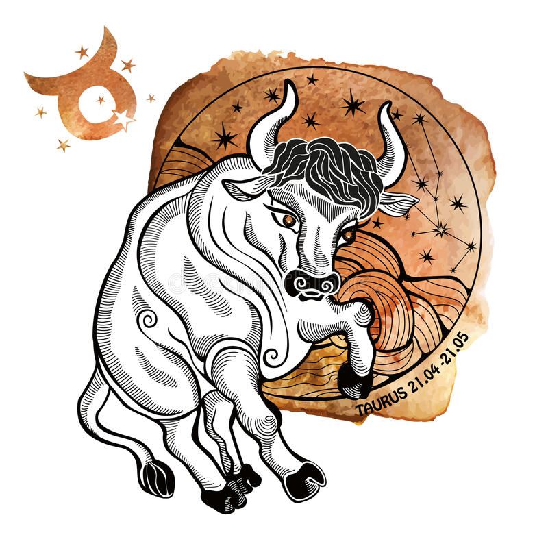 Free Taurus Zodiac Sign.Horoscope Circle.Watercolor Royalty Free Stock Photography - 61817587