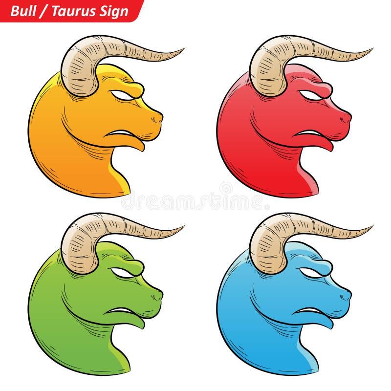 Taurus Zodiac Star Signs Sketch colorido stock de ilustración