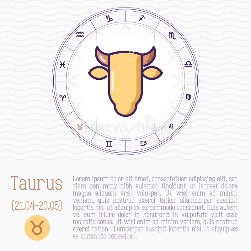 Taurus in zodiac wheel, horoscope chart. With place for text. Thin line vector illustration vector illustration