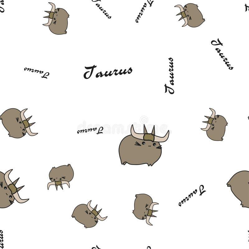 Taurus zodiak ?piewa bezszwowego wz?r z tekstem ilustracja wektor