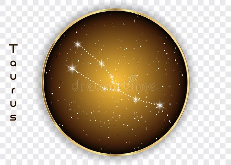 Taurus zodiaka gwiazdozbiory podpisują na pięknym gwiaździstym niebie z galaxy i interliniują behind Taurus horoskopu symbolu gwi ilustracja wektor