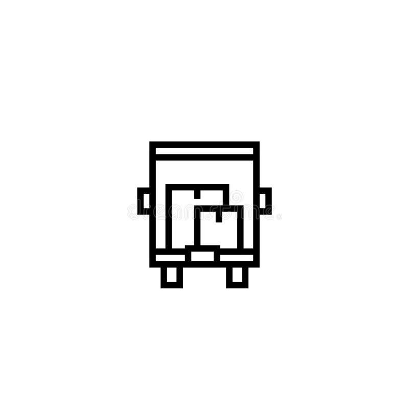 Tauschen Sie bewegliche Hausikone mit vielen von Pappschachtelsymbol einfaches sauberes dünnes Entwurfsartdesign stock abbildung