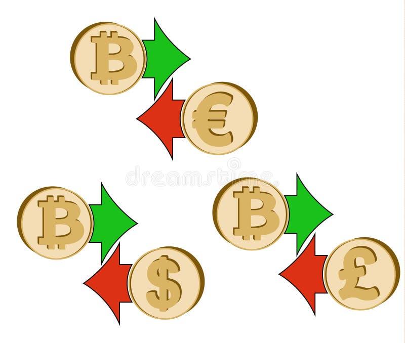 Tauschen Sie bitcoin zum Dollar, zum Euro und zum britischen Pfund aus lizenzfreie abbildung