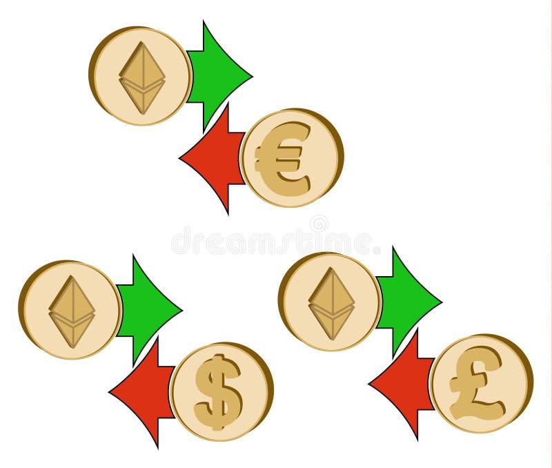 Tauschen Sie ethereum zum Dollar, zum Euro und zum britischen Pfund aus lizenzfreie abbildung