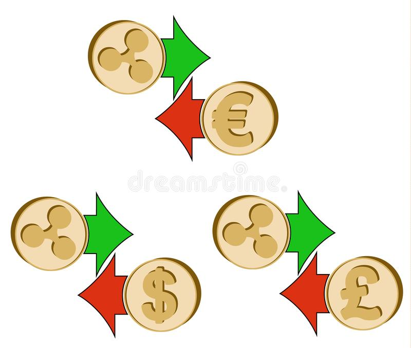 Tauschen Sie Kräuselung zum Dollar, zum Euro und zum britischen Pfund aus lizenzfreie abbildung