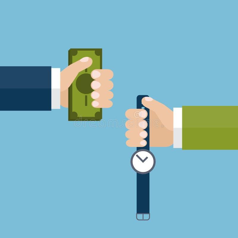 Tauschengeld für Zeit lizenzfreie abbildung