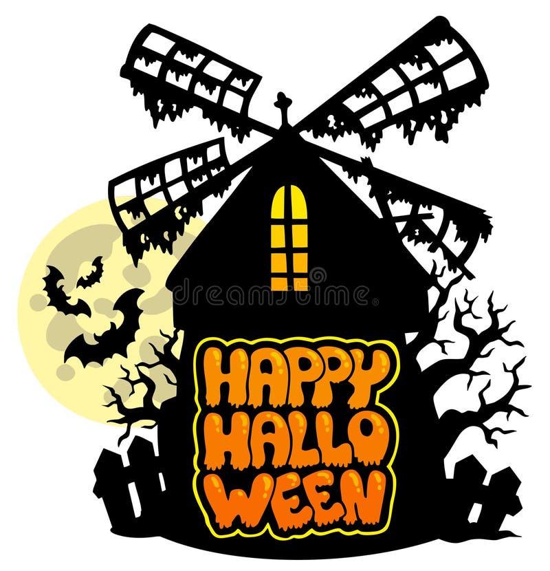 Tausendstel mit glücklichem Halloween-Zeichen 1 vektor abbildung
