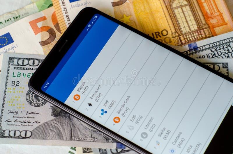 taux de change de Crypto-devise sur l'écran images stock