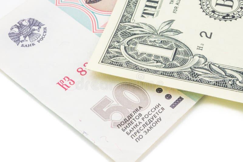 Taux de change historique de rouble russe et de dollar américain photos stock