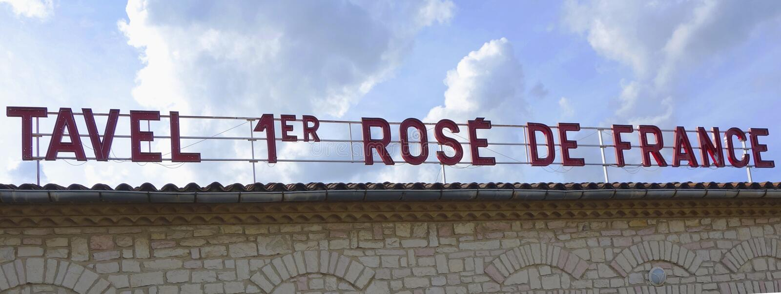 Tavel number 1 rose in France sign in Tavel, France stock photo