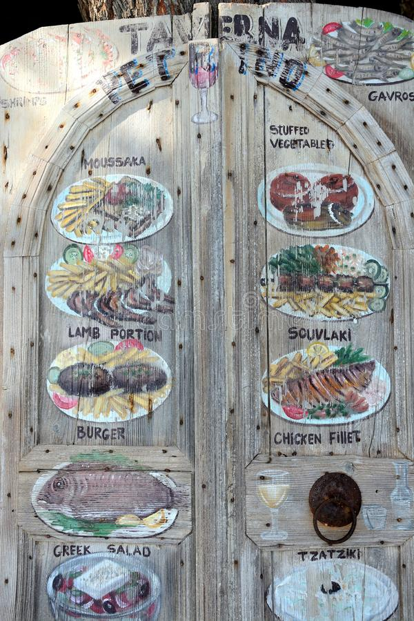 Taverna menu board, Bali. royalty free stock photography