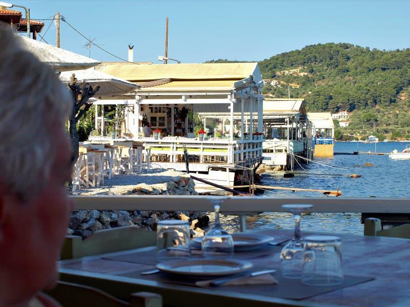 Taverna restaurants, Skaithos Town, Greece. royalty free stock photography