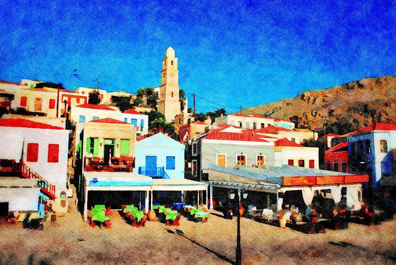 Tavernas de la orilla del mar, Halki stock de ilustración
