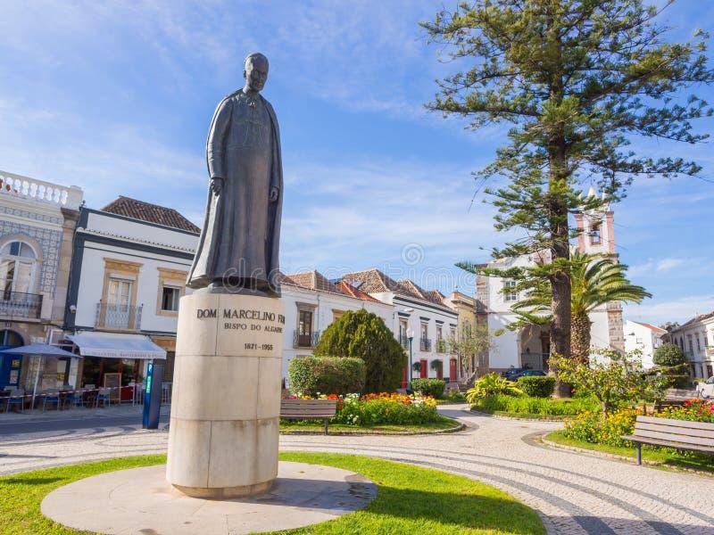 Stature of Dom Marcelino Franco, bishop of the ALgarve, in Tavira, Portugal. TAVIRA, PORTUGAL – MARCH 28, 2018: Stature of Dom Marcelino Franco, bishop stock image